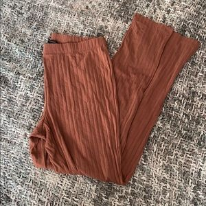 Burnt sienna ribbed leggings